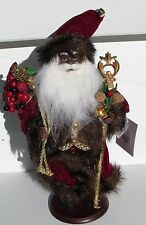 African American black Santa Claus Fr. Christmas St Nick Red gold fur NEW Brown