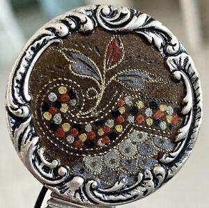 Beautiful Antique White Metal Floral Button, Paris