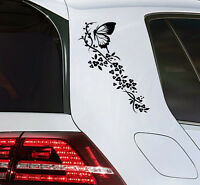 Auto Aufkleber Schmetterling Sticker mit Blumen Butterfly Decal  Premium Folie