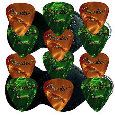 12 Plettri Chitarra Fender + Holder- Gold/Gren CELLULOID Guitar Picks - SALE!