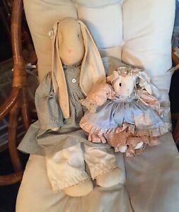 2 Handmade Primitive Floppy Ears Country Bunny Rabbits Muslin Rag Stuffed Rustic