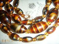 VINTAGE ART DECO VENETIAN MURANO BI COLOUR TORTOISESHELL SATIN  BEADS NECKLACE