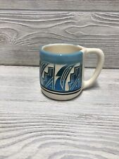 Navajo Coffee Mug Light & Dark Blue Etched & Glazed Signed Southwest