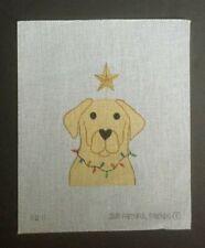 New ListingOur Faithful Friends Hand-painted Needlepoint Canvas Yellow Lab/Christmas Lights
