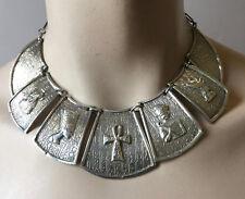 Vintage 1940s Dangle Necklace Egypt Egyptian Symbols Silver 900 60 Grams 18'' L