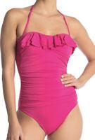 NWT La Blanca Island Goddess Front Bandeau One Piece Swimsuit Pink Sz 8