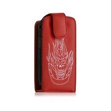 housse etui pour BlackBerry Torch 9800 Motif tête de mort couleur rouge + film p
