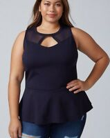 LANE BRYANT SEXY Plus Size 14/16 -26/28 CUTOUT MESH YOKE PEPLUM TOP Retail $49