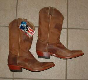 NEW NWT Mens Sz 8 1/2 Brown Leather OSU OKLAHOMA STATE COWBOYS Cowboy Boots