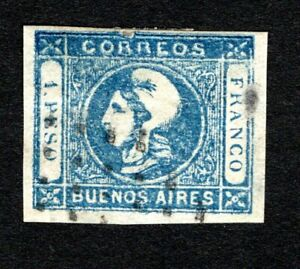 Argentina 1859 Buenos Aires #10 used imperf 1p blue, cv $30, small thin