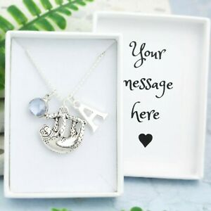 Sloth Necklace, Personalised Gift, Initial And Birthstone, Cute Animal Jewellery