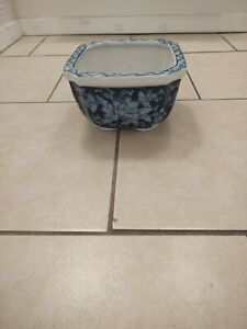 Floral Blue & White Porcelain Flower Pot Planter