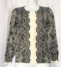 Top Knits Womens Cream Colored w/Black Long Sleeve Cardigan Sweater NEW Size S