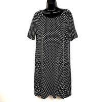 J CREW Collection dress L navy blue polka dot shift cotton knit ss 91553