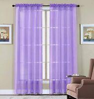 "2Pcs Elegant Sheer Window Curtains Drape Panels Treatment Voila 60""x84"" Lavender"