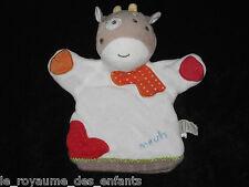 Doudou Marionnette Vache blanche marron rouge orange à pois meuh bébé9