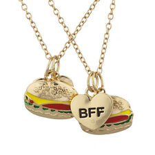 Lux Accessories Gold Tone BFF Bestfriends Forever Burger Charm Necklace Set 2PC