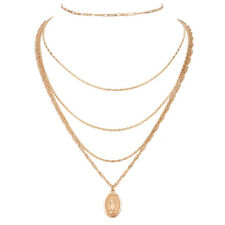 WOMEN MEDALLION NECKLACE GOLD MULTI LAYERED CHAIN NECKLACE FASHION JEWELRY POUCH