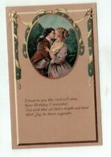 Antique Embossed Finkenrath Birthday Post Card Victorian Couple Share a Kiss