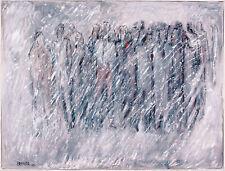 Gerhard Elsner 1930-2017:  Menschen im Schneetreiben  Acrylgemälde 60 x 80 cm