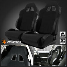 2X Black Cloth PVC Leather Patch Edges Reclinable Sports Racing Seats w/Sliders
