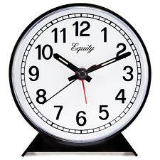 14075 Equity by La Crosse Key Wind Analog Quartz Alarm Clock - Black