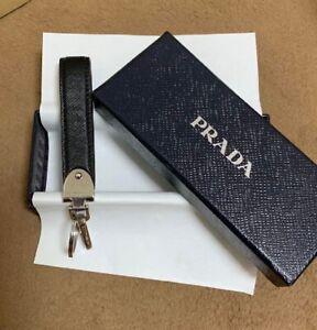 Auth PRADA Black Silver Keyring Charm Accessories Vintage Luxury w/BOX F/S