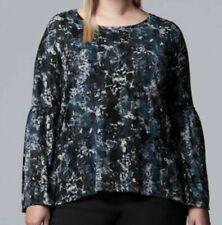 NEW Simply Vera Wang Women's Bell Sleeve Knit Boho Watercolor Top Blouse 3X