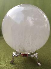 60 mm Selenite Sphere W/Stand Selenite Crystal Ball Gem Specimen Reiki Chakra