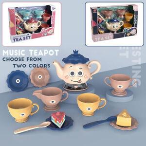 Kids Tea Set Role Play Children Tea Pot Pretend Play Party Toy W/Sounds XmasGift