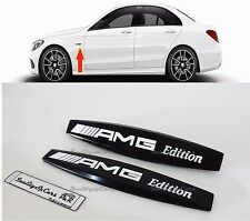 X2 MERCEDES benz AMG EDITION NERO ADESIVI METALLIC badge LOGO STEMMI LAT STICKER