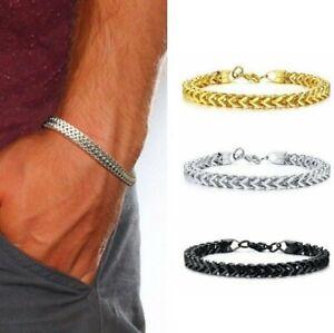 Men's Gold Silver Black Plated Stainless Steel Chain Arrow Head Bracelet Gift UK