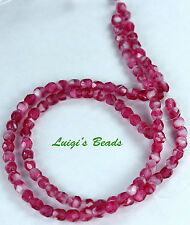 50 Pearl Fuchsia Czech Firepolished Round Glass Beads 4mm