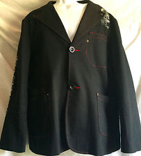 Men's Pratto Blazer Sport Coat Jacket Black Red Stitch Fleur de Lis XL 2 button