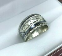 Soviet Kubachi Silver Ring Niello 875 USSR Woman's Ring 3.99g Size 7.5 Vintage