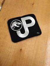 "Rare Vintage 90s Jurassic Park JP Logo Black Embroidered Patch 3""x3.5"""