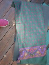 Long Silk  Scarf for Men green with burgundy  borders 61x 8 gorgeous vintage new