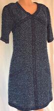 CHANEL BLUE TWEED EBROIDERED TRIM V-NECK SHORT SLEEVES DRESS SZ 42 #P45571V33653