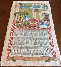 "New listing Vintage! 1975, Linen, Tea Towel, Calendar, ""Bountiful Table�, 16x25-3/4�"
