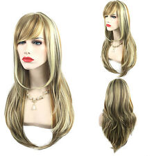Front Wig Synthetic Ash Blonde Long Straight Heat Resistant Fiber Wigs