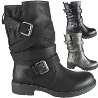 Ladies Mid Calf Ankle Boots Buckle Biker Low Heel New Pull On Shoes Size