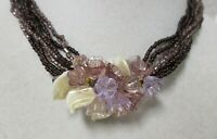 Vintage Gold Tone Multi-Strand Purple Seed Bead & Lucite Flowers Necklace