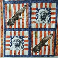 Spirit Of America Indian Chief Eagle  American Pillow Panels Cotton 1 Yard
