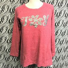 STYLE & CO Womens Red Heather JOY Christmas Holiday Pullover Sweatshirt PM NWT