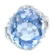 ALLURING 17.2 CT BLUE AQUAMARINE & SAPPHIRE OVAL STERLING SILVER 925 RING SIZE6