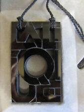LALIQUE Crystal Black Art Deco Logo Letter Pendant Necklace NIB France