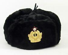 USHANKA * Russian Winter Hat * Military Style * Soviet Navy Badge* size L* BLACK