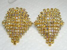 "PAIR~Vintage DAZZLING Aurora Borealis Rhinestone Dangle Shoe Clips 2"" x 1.5"""