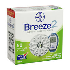 Breeze 2 Blood Glucose 50 Test Strips Made In US  Exp:02/25/2019