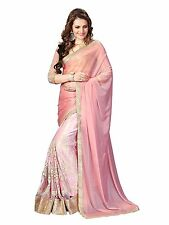 Indian Ethnic Designer Art Silk Pink Zari Emboridered Saree Sari D.No DPS1113